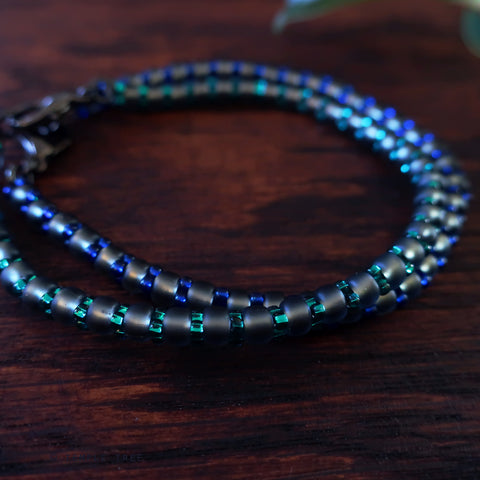 Temple Tree Bamboo Weave Beaded Bracelets - Set of 2 - Blue and Emerald