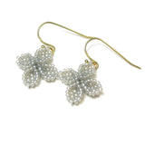 Heart in Hawaii Ixora Flowers - Tiny Beaded Quatrefoil Dangles in Dove Grey