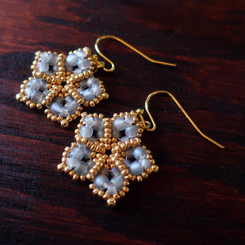 Temple Tree Mandala Flower Beaded Earrings - Matte Grey and Gold