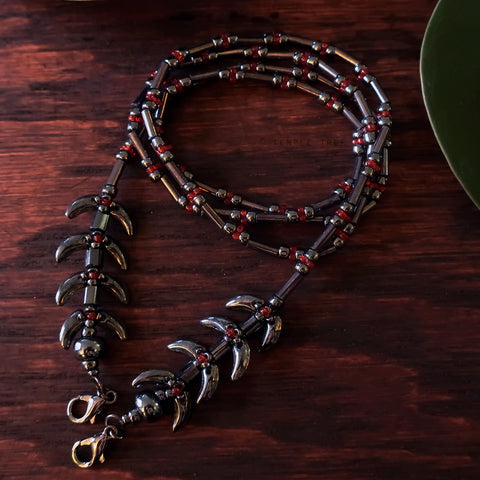 Temple Vine Beadwoven Mask Lanyard by Temple Tree - Grey and Red
