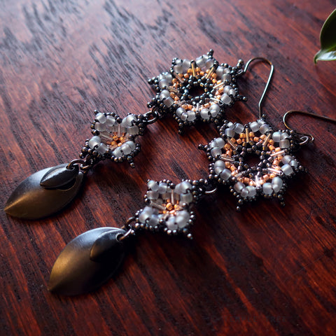 Temple Tree Dharma Wheel Earrings with Quatrefoils - Grey and Rose Gold