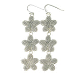 Heart in Hawaii Triple Plumeria Long Dangle Earrings - Dove Grey