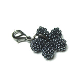 Heart in Hawaii - Tiny Double-sided Beaded Plumeria Clasp Charm - Gunmetal Grey