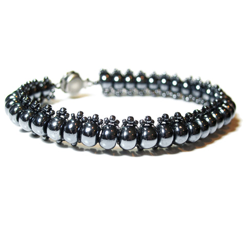 Temple Tree Bohemian Glass Bead Caterpillar Weave Bracelet - Hematite