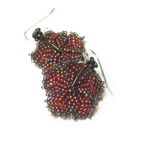 Heart in Hawaii Beaded Hibiscus Earrings - Canyon Sunset