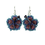 Heart in Hawaii Beaded Hibiscus Earrings - Dark Red and Blue