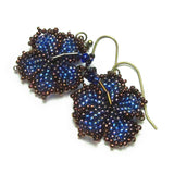 Heart in Hawaii Beaded Hibiscus Earrings - Cobalt and Bronze
