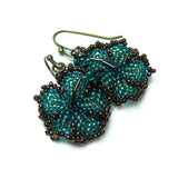 Heart in Hawaii Beaded Hibiscus Earrings - Teal and Bronze
