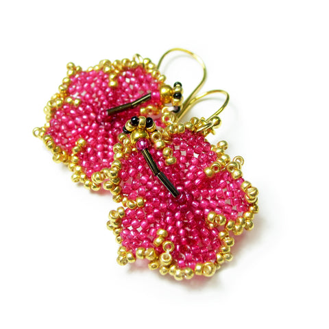 Heart in Hawaii Beaded Hibiscus Earrings - Ruby Pink and Gold