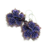 Heart in Hawaii Beaded Hibiscus Earrings - Amethyst Purple