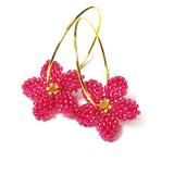 Heart in Hawaii Pua Kawaii - Tiny Plumeria Hoop Earrings - Ruby Pink and Gold