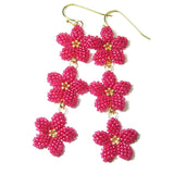 Heart in Hawaii Triple Plumeria Long Dangle Earrings - Ruby Pink and Gold