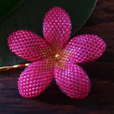 Heart in Hawaii 2.5 Inch Beaded Plumeria Flower - Hot Pink with Topaz