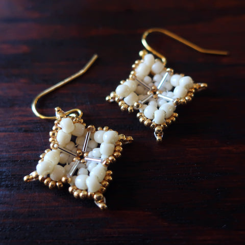 Temple Tree Quatrefoil Mandala Beaded Earrings - Ivory and Gold