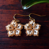 Temple Tree Mandala Flower Beaded Earrings - Ivory and Gold
