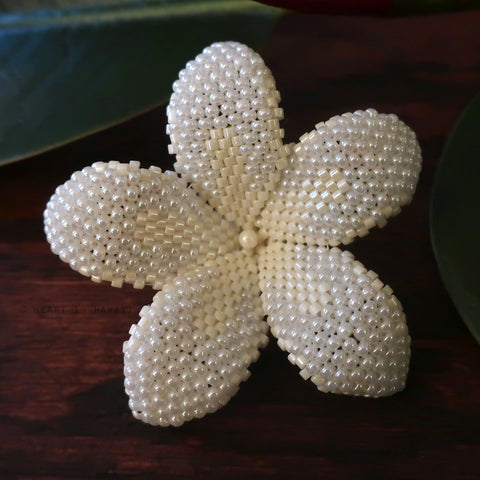 Heart in Hawaii 2 Inch Beaded Plumeria Flower Brooch - Ivory