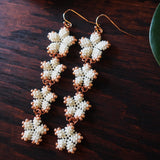 Heart in Hawaii 4x Plumeria Beaded Long Dangles - Ivory with Rose Gold