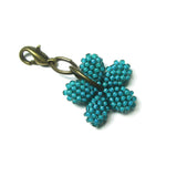 Heart in Hawaii - Tiny Beaded Plumeria Clasp Charm - Jungle Green