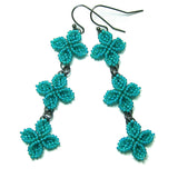 Heart in Hawaii Triple Ixora Quatrefoil Earrings - Jungle Green with Black
