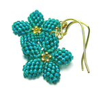 Heart in Hawaii Pua Kawaii - Tiny Plumeria Dangles in Jungle Green with Gold