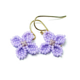 Heart in Hawaii Hydrangea Earrings - Tiny Beaded Flower Dangles in Light Purple