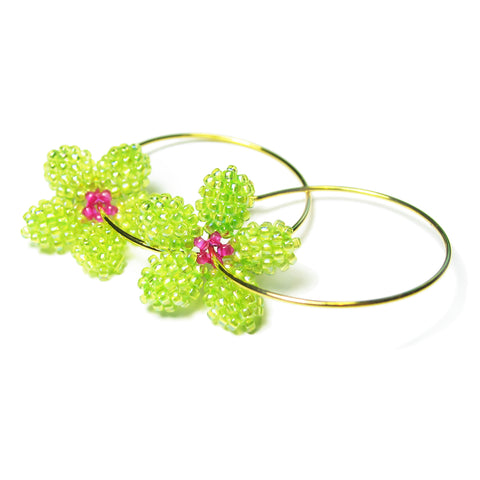 Heart in Hawaii Pua Kawaii - Tiny Plumeria Hoop Earrings - Lime and Fuchsia