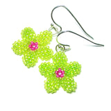 Heart in Hawaii Pua Kawaii - Tiny Plumeria Dangles in Lime and Fuchsia