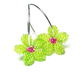 Heart in Hawaii Tiny Plumeria Hoop Earrings - Lime and Fuchsia
