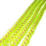"Heart in Hawaii Extra Long 40"" Beaded Necklace with Optional Plumeria Clip - Lime and Fuchsia"