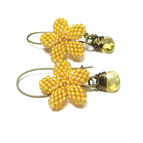 Heart in Hawaii Plumeria Flower Kahiko Earrings - Mango and Citrine