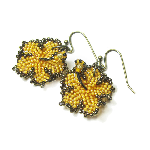 Heart in Hawaii Beaded Hibiscus Earrings - Mango and Bronze