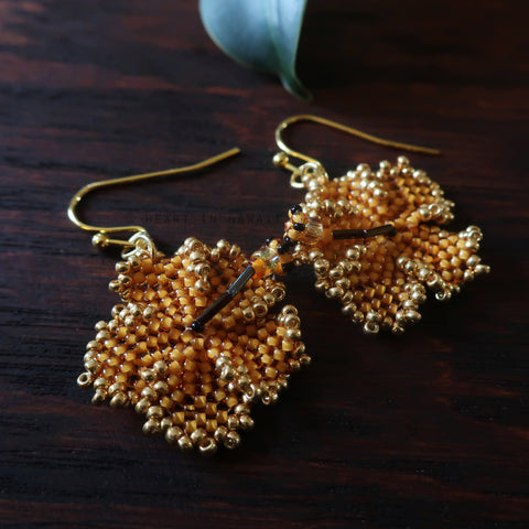 Heart in Hawaii Beaded Hibiscus Earrings - Mango and Gold