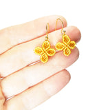 Heart in Hawaii Ixora Flowers - Tiny Beaded Quatrefoil Dangles in Mango