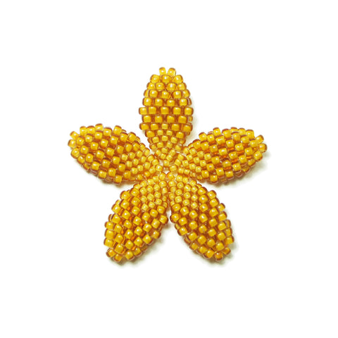 Heart in Hawaii Beaded Plumeria Flower - Mango - Small