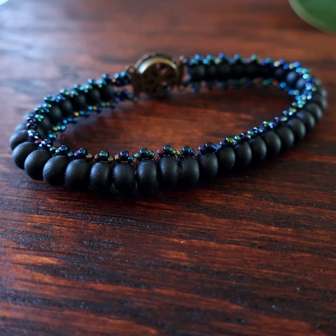 Temple Tree Boho Glass Bead Caterpillar Weave Bracelet - Matte Black and Galactic Blue