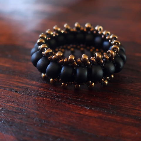Temple Tree Bohemian Glass Bead Thumb Ring - Matte Black and Bronze