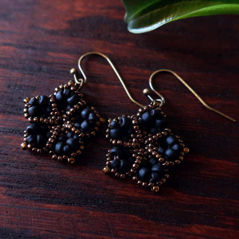 Temple Tree Mandala Flower Beaded Earrings - Matte Black and Bronze