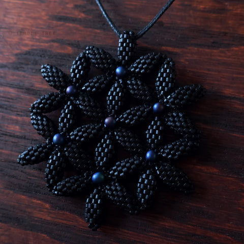Temple Tree Flower of Life Beaded Pendant - Matte Black