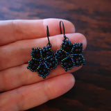 Temple Tree Mandala Flower Beaded Earrings - Matte Black with Galactic Blue