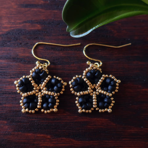 Temple Tree Mandala Flower Beaded Earrings - Matte Black and Gold