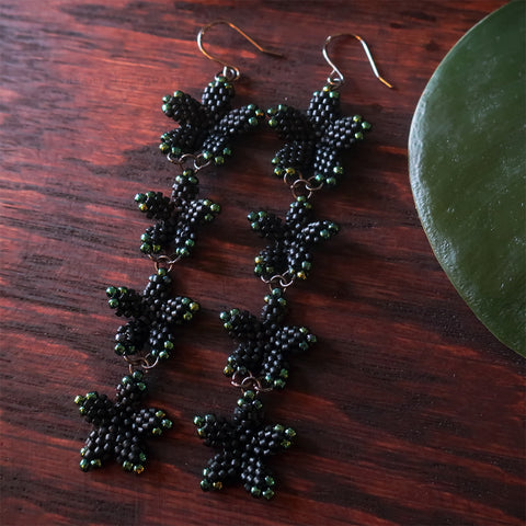 Heart in Hawaii Perephone Collection 4x Plumeria Beaded Long Dangles - Matte Black