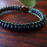 Temple Tree Boho Glass Bead Caterpillar Weave Bracelet - Matte Black and Galactic Green
