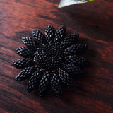 Heart in Hawaii Beaded Sunflower Brooch - Matte Black