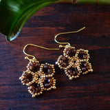 Temple Tree Mandala Flower Beaded Earrings - Matte Brown and Gold