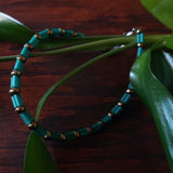 Temple Tree Bamboo Weave Beaded Bugle Bracelet - Teal and Grey