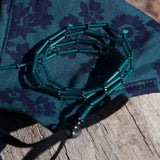 Temple Tree Bamboo Weave Thin Beaded Mask Lanyard - Teal and Grey