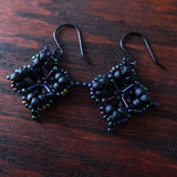 Temple Tree Quatrefoil Mandala Beaded Earrings - Matte Black and Galactic Blue