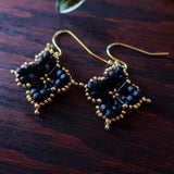 Temple Tree Quatrefoil Mandala Beaded Earrings - Matte Black and Gold
