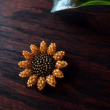 Heart in Hawaii Mini Beaded Sunflower Brooch - Marigold