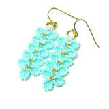 Heart in Hawaii Maile Inspired Beaded Leaf Vine Earrings - Mint with Gold